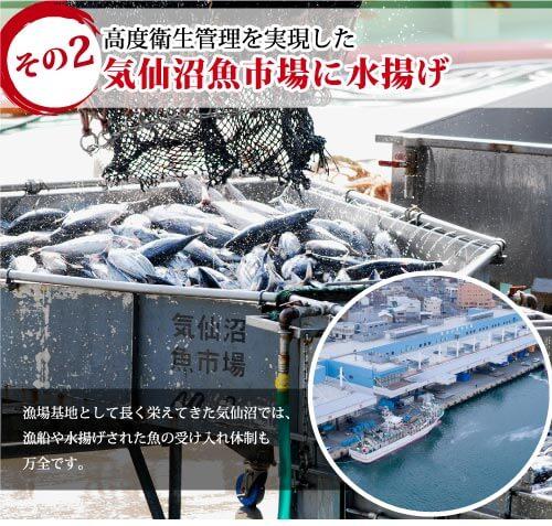高度衛生管理を実現した気仙沼魚市場に水揚げ 漁場基地として長く栄えてきた気仙沼では、漁船や水揚げされた肴の受け入れ体制も万全です。